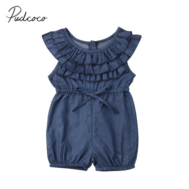 394017008b08 2019 Brand New 0-4Y Newborn Toddler Baby Girls Denim Romper Ruffles Short  Sleeve Elastic Waist Blue Jumpsuits Summer Clothes