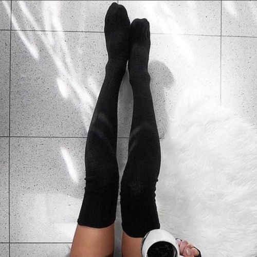 2019 แฟชั่นผู้หญิงถุงน่องกว่าเข่าถุงเท้ายาว Boot ถักต้นขาสูงสีกากีสีเทาอ่อนสีเทาเข้มสีดำนุ่มถุงน่อง