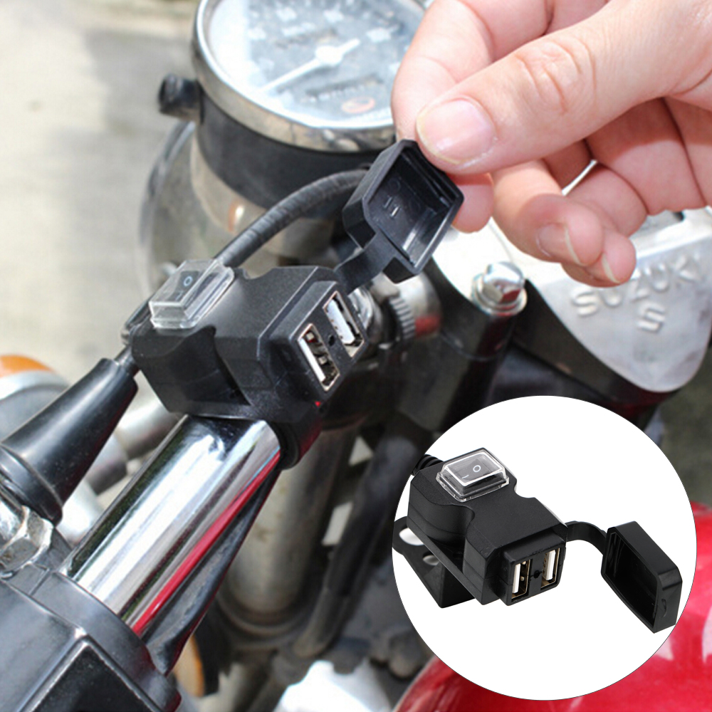 Motorcycle USB Socket Power Supply Socket Motorbike Handlebar Charger For Phone GPS 5V 1A/2.1A Adapter Dual USB Port Waterproof