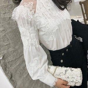 Image 5 - Chicever夏カジュアル固体レース中空アウト女性のシャツスタンド襟パフスリーブスリムプラスサイズトップ衣類2020新しい