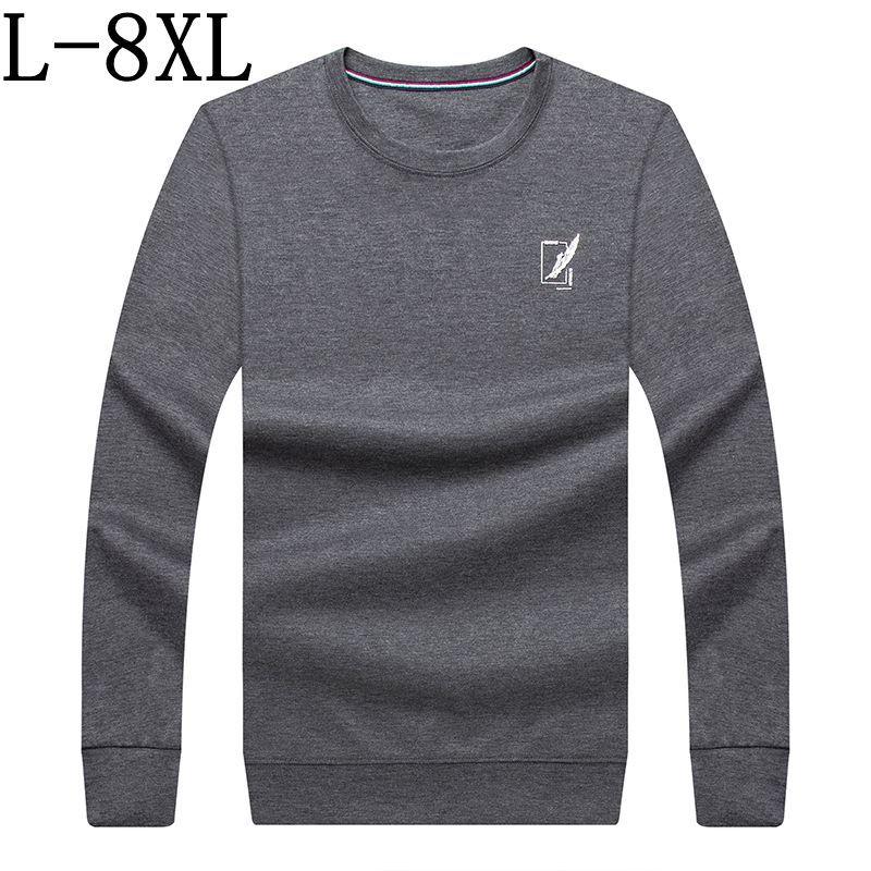 6XL 7XL 8XL Plus Size Tee Top Male Casual Streetwear Long Sleeve Loose Tshirts Men High Quality Printed Male T-shirt