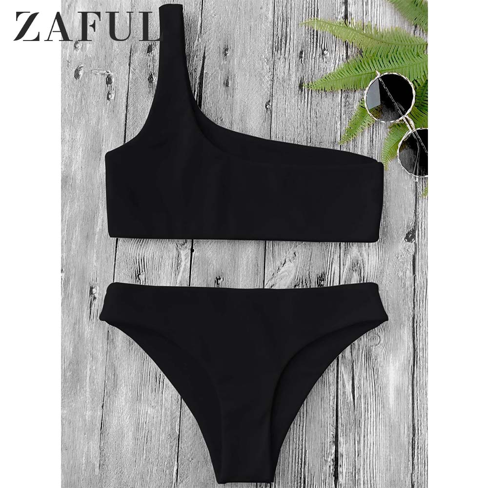 ZAFUL One Shoulder Bikini Top And Bottoms Wire Free Elastic Low Waisted Bralette Bra Short Top Women Summer Bikini Sets 2020