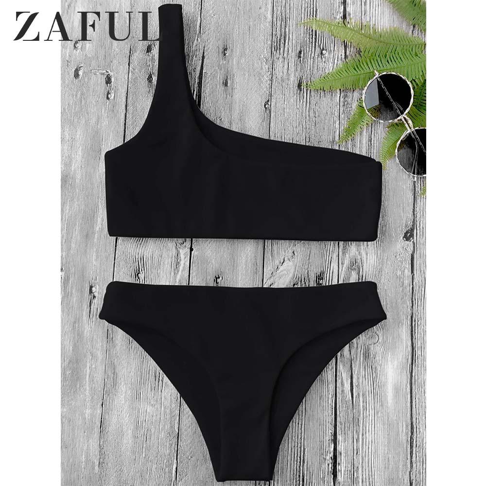 ZAFUL One Shoulder Bikini Top And Bottoms Wire Free Elastic Low Waisted Bralette Bra Short Top Women Summer Bikini Sets 2020