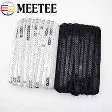 10Meter Meetee 1cm Sequin Lace Ribbon Trim Gold Silver Thread for Costume Stage Clothing Decoration Sewing Accessories