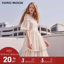 Vero Moda Brand 2018 NEW spring sweet shoulder-strapes lace half sleeve mid-length female dresses 31816Z503