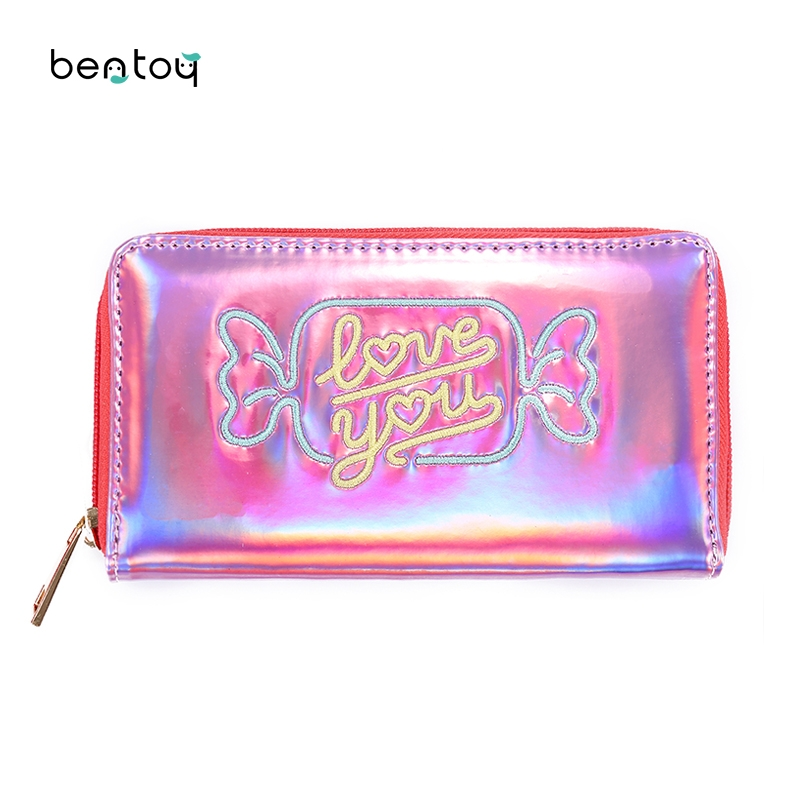 Lovely hologram Leather Long Women Wallet Fashion Girls Change Zipper Purse Money Coin ID Card Holders wallets Carteras 2017 hot sale lovely leather long women wallet fashion girls change clasp purse money coin card holders wallets carteras