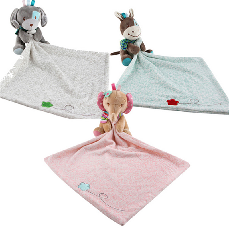 New Cute Infant Toddler Baby Comforter Washable Security Blanket Cartoon Dog Deer Elephant Soft Swaddling 0-1Y