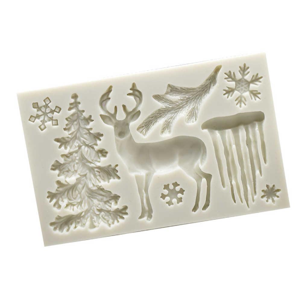 ธีมคริสต์มาสแม่พิมพ์ซิลิโคน Elk Snowflake Deer Fondant ขนม ICE CUBE Candy ช็อกโกแลตแม่พิมพ์สีสุ่ม