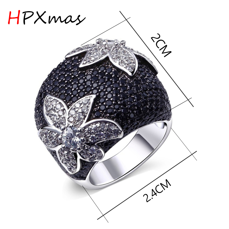 HPXmas Fashion Personality Black White Big hexagram flower Exaggerated party banquet Wedding Ring Women jewelry Mother gift A112 in Rings from Jewelry Accessories