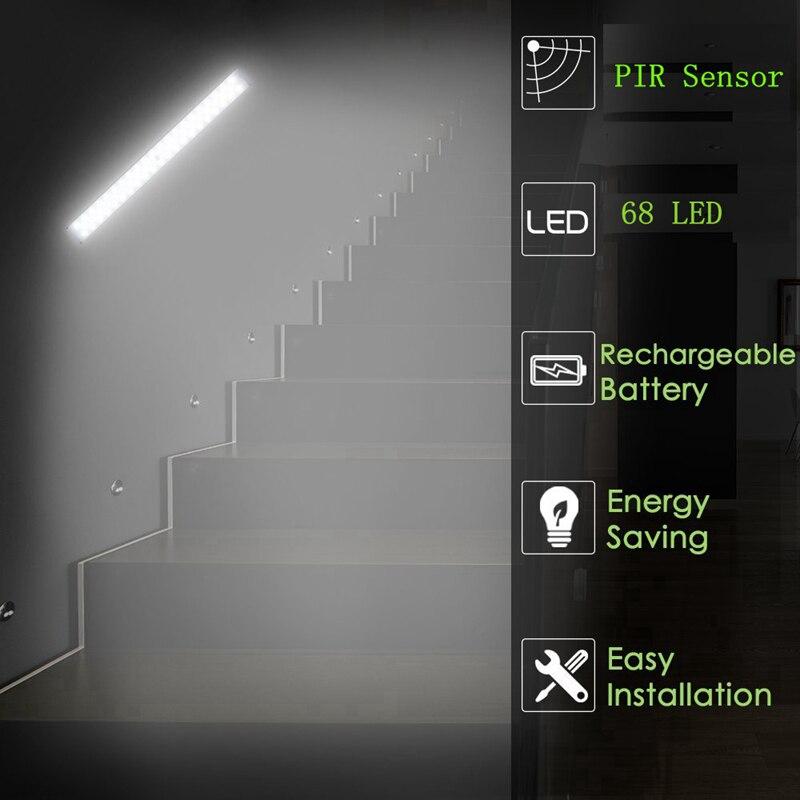 Mising Wireless 68 LED Bar Light PIR Motion Sensor Under Cabinet Light USB Rechargeable Night Light Magnetic Closet Wardrobe