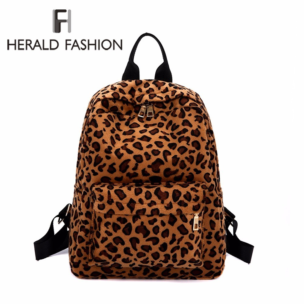 Detail Feedback Questions about Herald Fashion Leopard Velour Backpack For  Women Winter Soft Backpack Female Plush Backpacks Ladies Travel Laptop  Backpacks ...