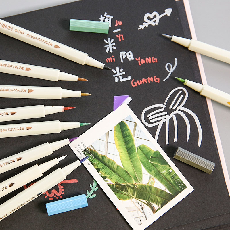 STA 10 Colors Micron Metallic Marker Pen Sketching Markers Highlighter Soft Brush Pen For Stationery School Supplies