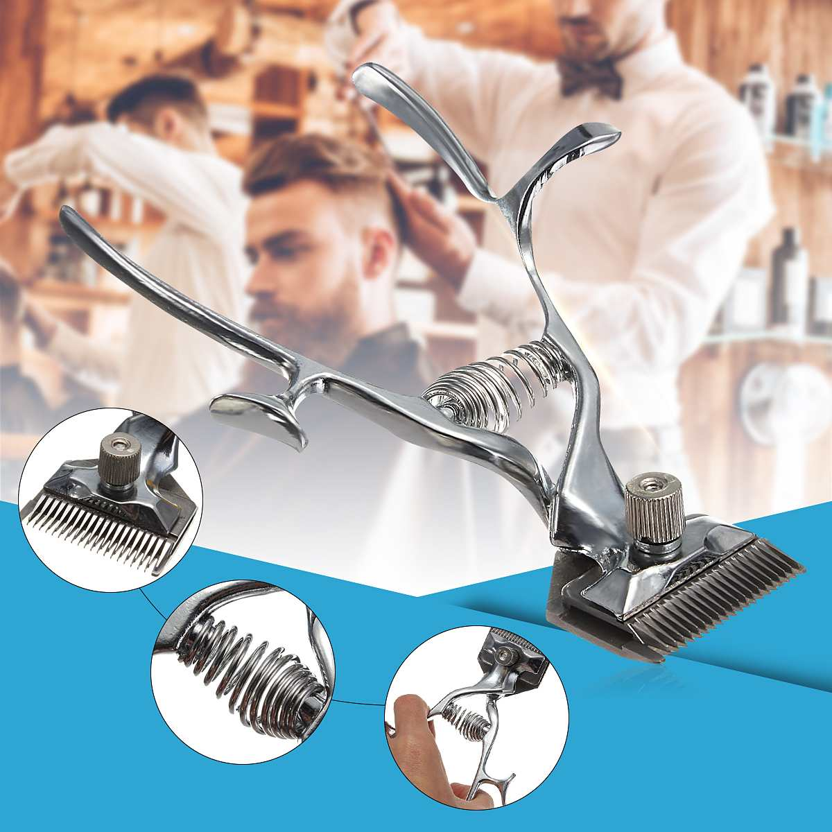 Old Fashion Manual Hair Clipper Vintage Barber Hand Clipper Portable Hair Trimming Manual Hair Clippers Silver Low Noise