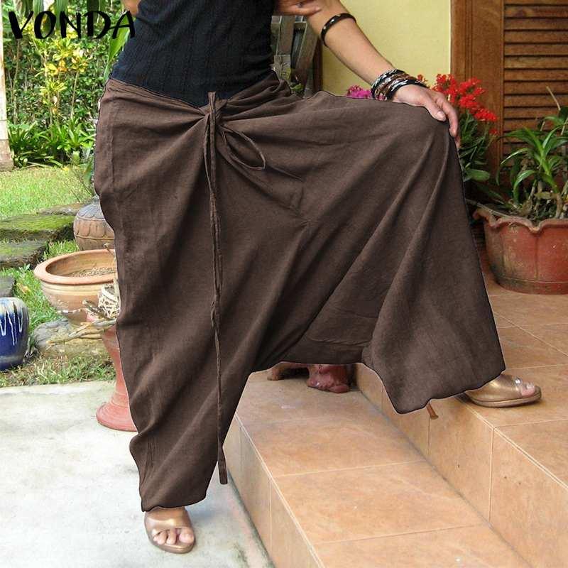 VONDA Women Casual   Pants   2019 Autumn Vintage Cotton Solid Loose Trousers Bottoms Female Sexy   Wide     Leg     Pants   Plus Size