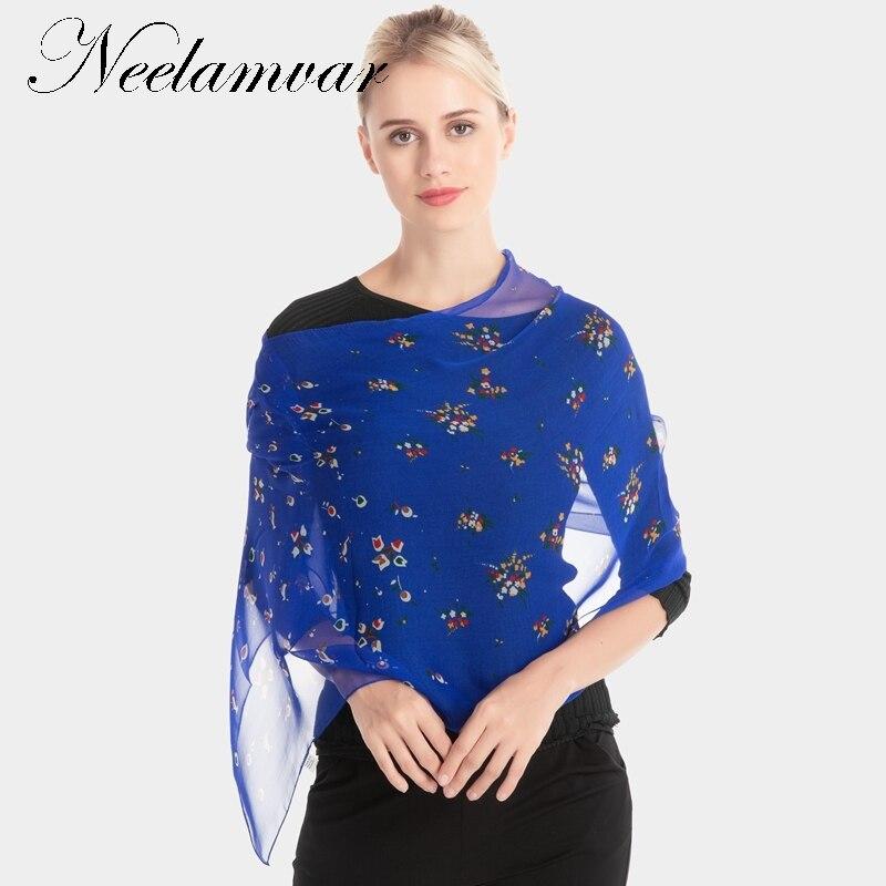 Neelamvar 2017 new   scarf   flower print silk geogette   scarf   women chiffon long shawl oblong   scarves     wraps   thin hijab wholesale