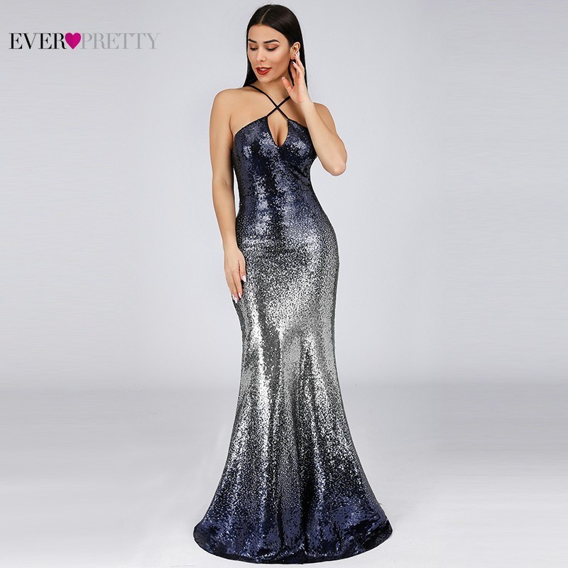 Sexy Sequined Evening Dresses Long Ever Pretty EP07878NB Abiye Halter Navy Blue Mermaid Women Formal Dresses