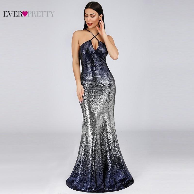 Пикантные вечерние платья с пайетками долго когда-либо довольно EP07878NB Abiye Холтер темно-синее с юбкой-годе Для женщин Вечерние платья 2019 ...