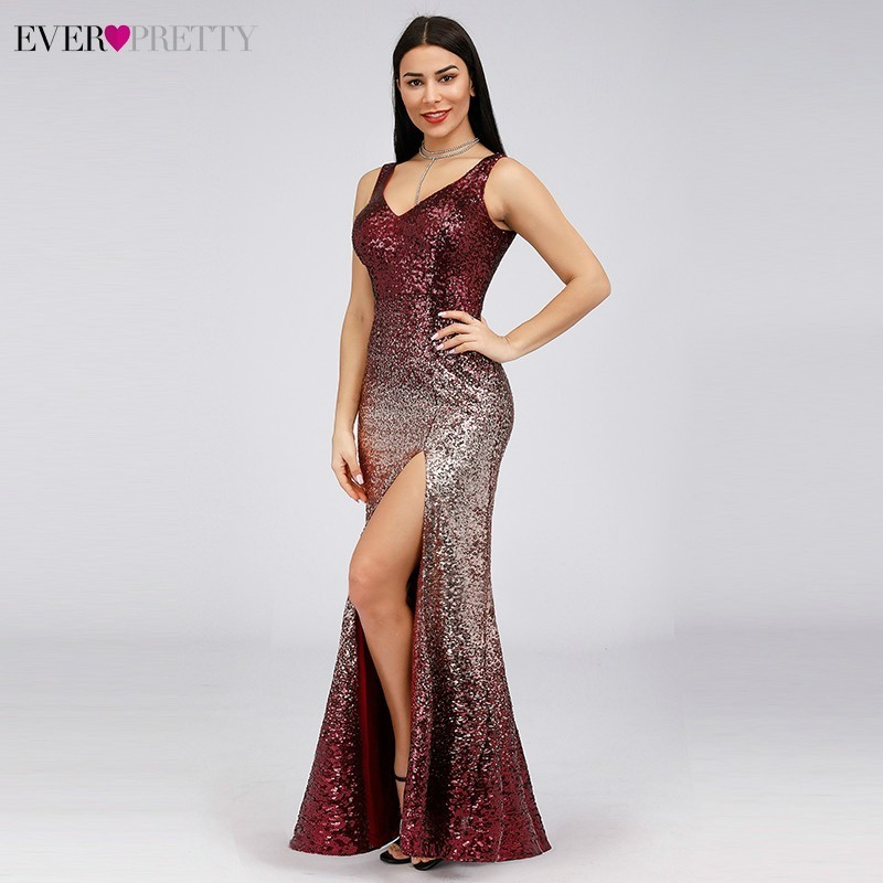 Evening Dresses Ever Pretty Sexy A-Line V-Neck Backless Sequins Evening Dresses Long Gowns For Party EP07345BD Robe De Soiree