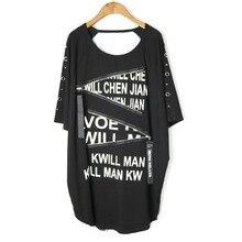 Новинка, стильный Свободный пуловер в стиле панк с коротким рукавом и буквенным принтом, круглым вырезом и заклепками, модная летняя футболка, женские топы