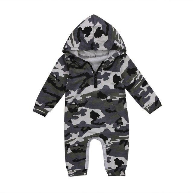 Barboteuse à Camouflage pour bébés garçons | Barboteuse à capuche, barboteuse à manches longues, tenue chaude pour printemps et automne pour garçons 0-24M