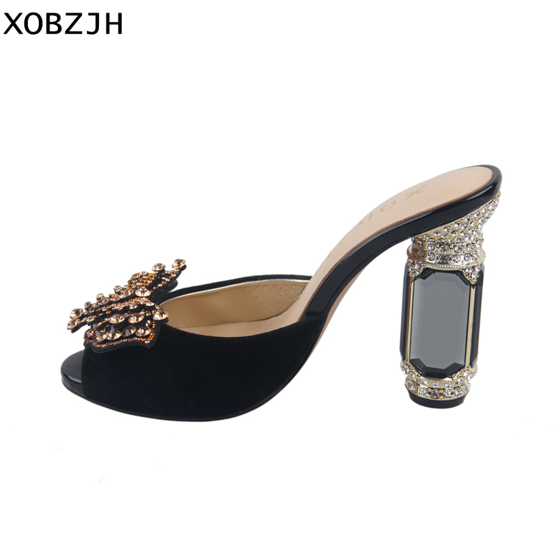 High Heels Women Shoes 2019 Luxury Ladies Wedding Party Black Genuine Leather High Slippers Open Toe Ladies Sandals Plus SizeHigh Heels Women Shoes 2019 Luxury Ladies Wedding Party Black Genuine Leather High Slippers Open Toe Ladies Sandals Plus Size