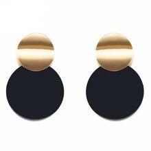 62dfc1319c27 De moda Negro redondo de Metal pendiente para las mujeres oro brillante  suave Pendientes 2019 declaración