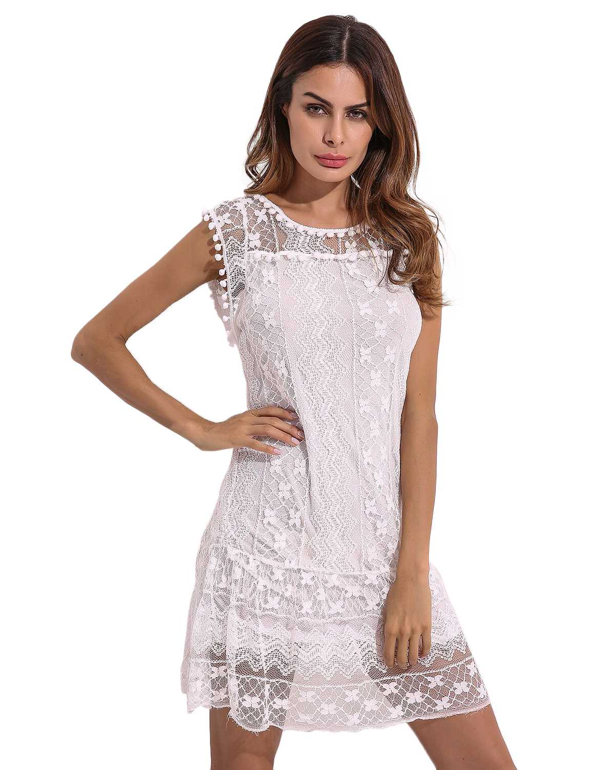 Summer Loose Straight Dresses Women 2019 ZANZEA Casual Round Neck Sleeveless Short Patchwork Lace Elegant Party Robe Mini Dress