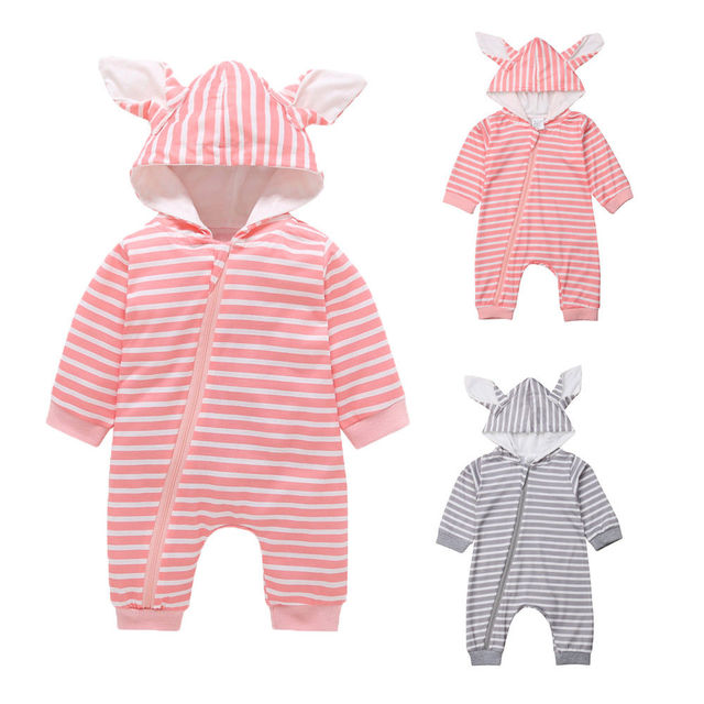 7079f167a Long Sleeve Hooded Baby Romper One Piece Striped Bunny Tail Infant ...