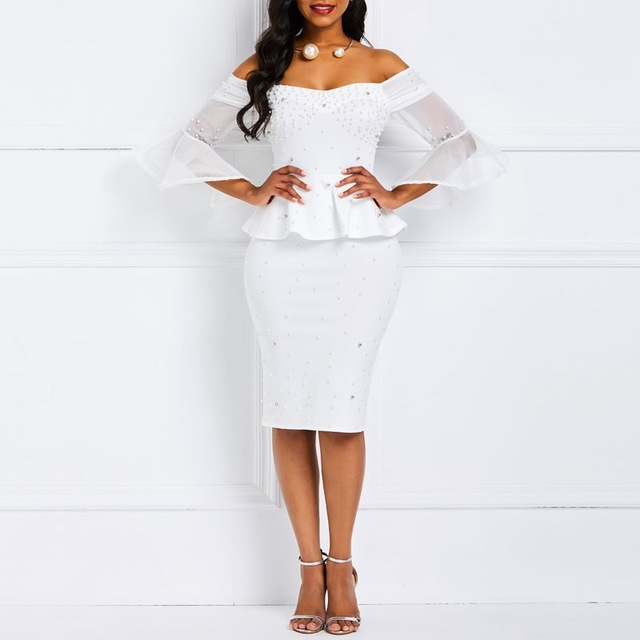 Bodycon Dresses Women Beads Stylish Elegant White Evening Summer Ruffles Mesh Flare Sleeve Elastic Slim Ladies Party Sexy Dress