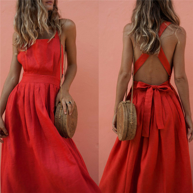 Women Summer Boho Strappy Long Maxi Dress Sexy Backless Party Red Dress Beachwear  Sundress vestido mujer 2
