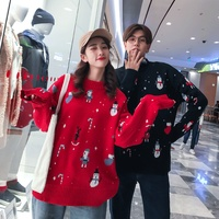 Kawaii Couple Christmas Sweaters Santa Claus Snowman Printing Women Men Autumn Winter Pullover Long Sleeve Knitted Warm Tops