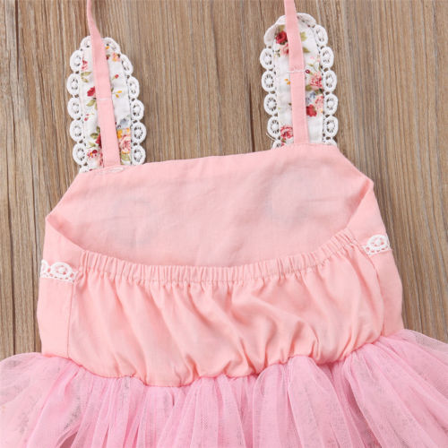 US Infant Baby Girls Easter 3D Bunny Dress Party Outfit Princess Tulle Sundress