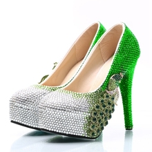 Plus Size Bride Wedding Shoes Green Rhinestone with Silver Color Wedding  Party Shoes Phoenix Handmade Ceremony c41265844afe