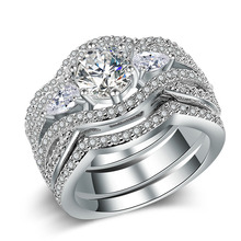 Huitan Luxury 3PC Wedding Ring Set with Round Brilliant Cubic Zirconia Lover Jewelry Promise Rings for Couples Wholesale