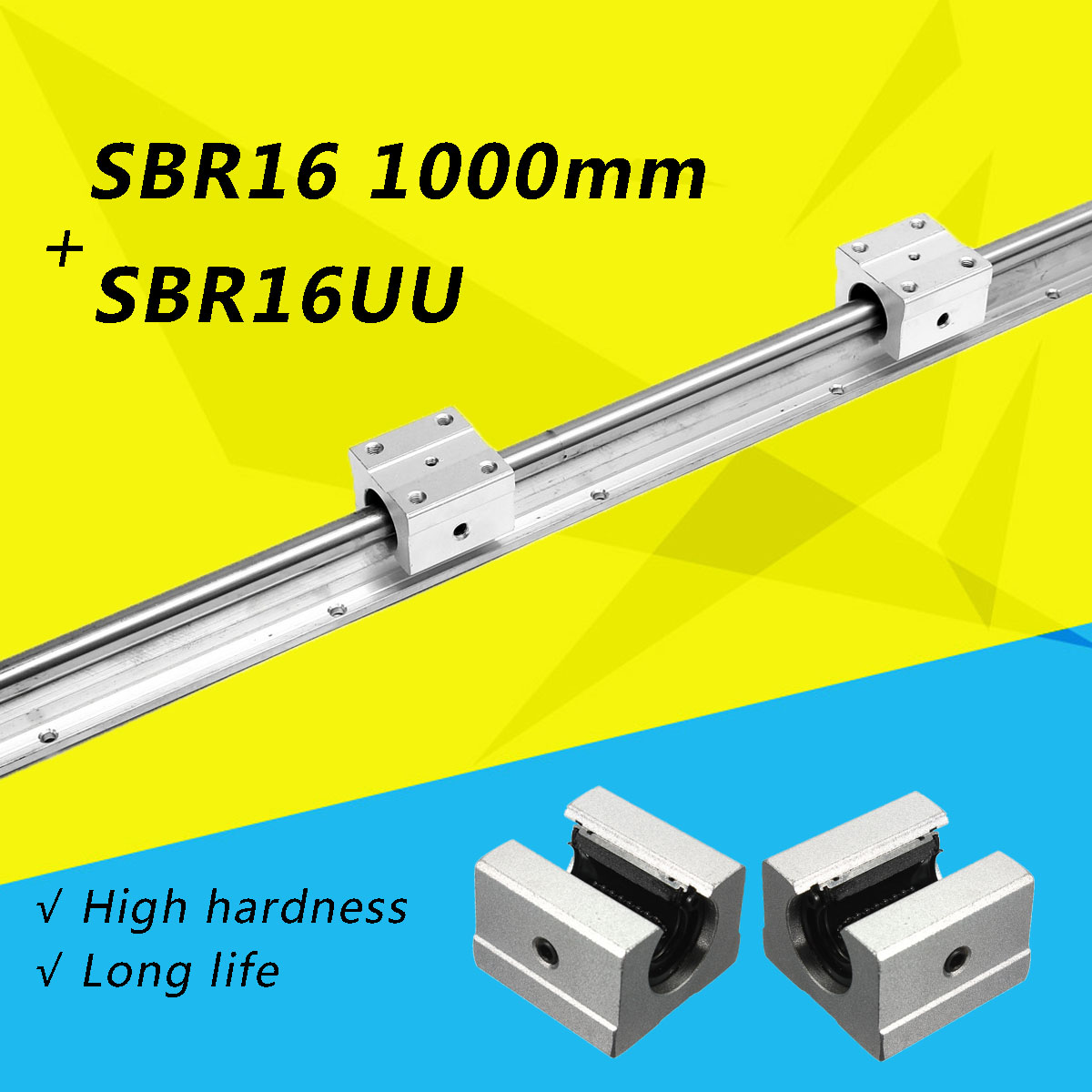 2x SBR16 1000mm Linéaire Support de Rail Axe Optique Guide + 4 SBR16UU Portant Bloc