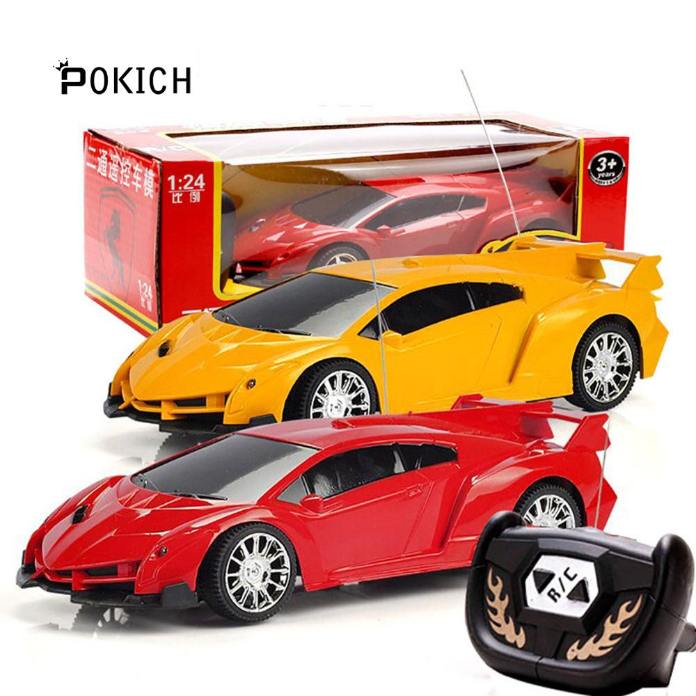 Pokich Electric Rc Cars 2 Channel Drift Remote Control Car Model High Speed Racing Gift for Kids 1:24