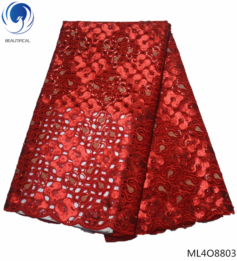 BEAUTIFICAL  organza laces fabrics 2019 red nigerian laces fabrics with sequins organza laces dresses 5yards ML4O88BEAUTIFICAL  organza laces fabrics 2019 red nigerian laces fabrics with sequins organza laces dresses 5yards ML4O88