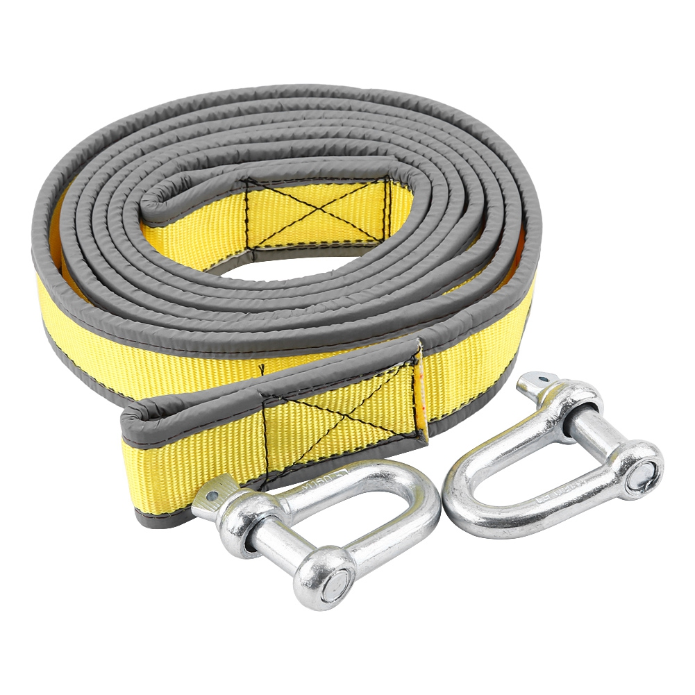 TOWING ROPE RECOVERY WITH 2 HEAVY DUTY CARABINER SHAKLES 8TON 4 METRE TOW ROPE