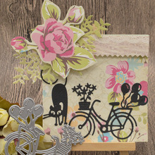 Cat Bicycle Metal Cutting Dies For Scrapbooking Paper Card Album Decoration Embossing Template Craft Dies