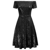 sexy classy Stunning dresses Women Bridesmaid party wedding Sequined Short Sleeve Off Shoulder dress elegant A Line Skater Dress