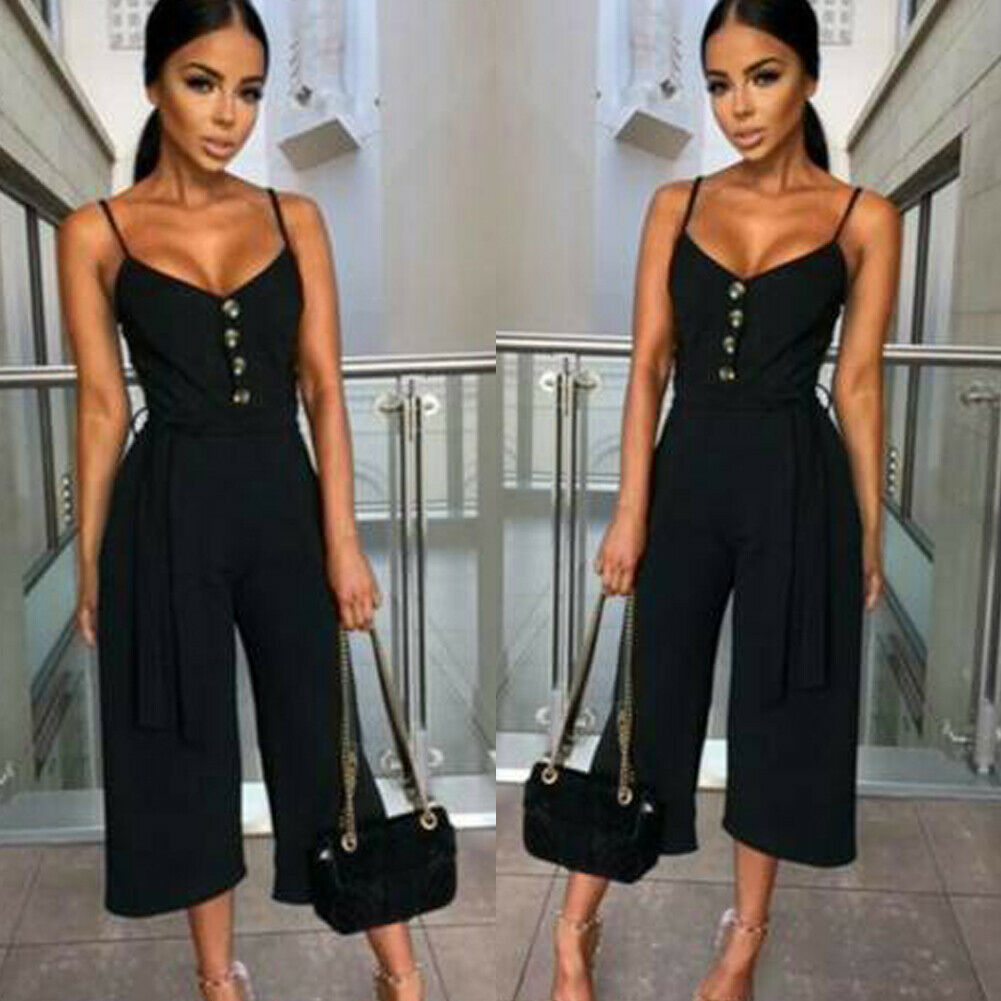 New Style Women Summer Pants Plus Size V Neck Short Sleeve   Jumpsuit   Ladies Summer Casual Loose Playsuit