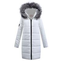 2018 Women Autumn Winter Jacket White Coat Raccoon Fur Collar Casual Thick Parka Down Cotton Hood Plus Size Long Outerwear PJ245