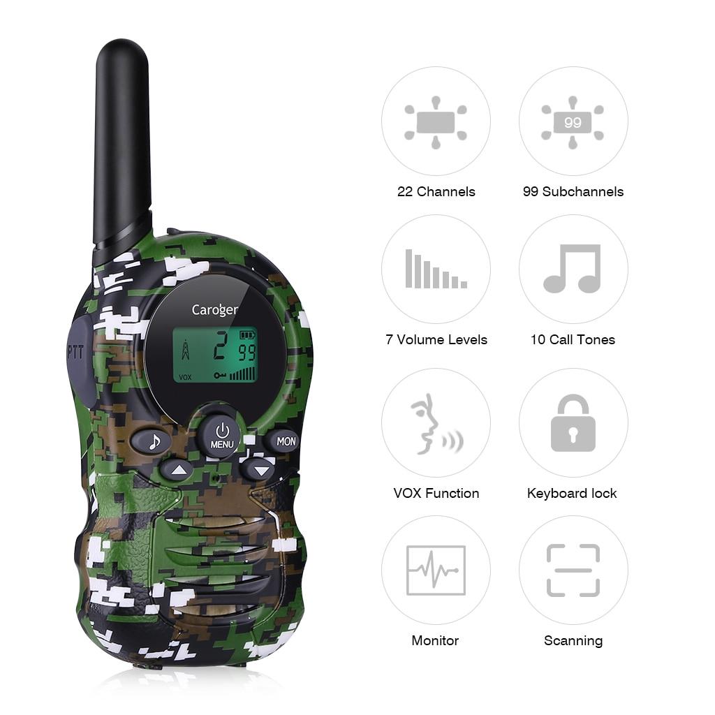 Caroger 22/8 Channel 2pcs Walkie Talkies FRS/GMRS 462/467/446 MHZ Two Way Radio 2 Miles Range Handheld Interphone camouflage