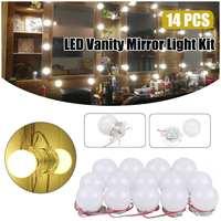 14pcs White LED Lamp String DIY Makeup Mirrors Lamp Cosmetic Salon Barber Shop Dresser Decoration Wall Lights String