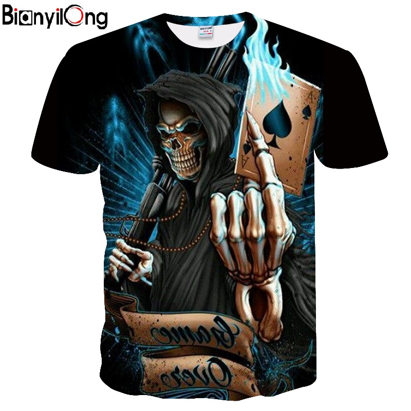 2019 Summer Men's New 3D Print Skull Poker Pattern <font><b>Cool</b></font> <font><b>Short</b></font> Sleeve Personality T-Shirt Hip-Hop Style Youth T-Shirt image
