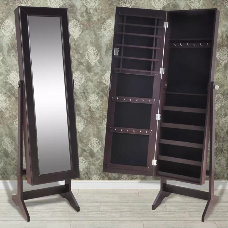 VidaXL ювелирный шкаф запираемый органайзер с зеркалом для гостиной свободно стоящий запираемый зеркальный макияж зеркала горячая распродаж...
