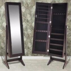 VidaXL Sieraden Kast Afsluitbare Organizer Met Spiegel Woonkamer Vrijstaande Afsluitbare Mirrored Make Up Spiegels Kast