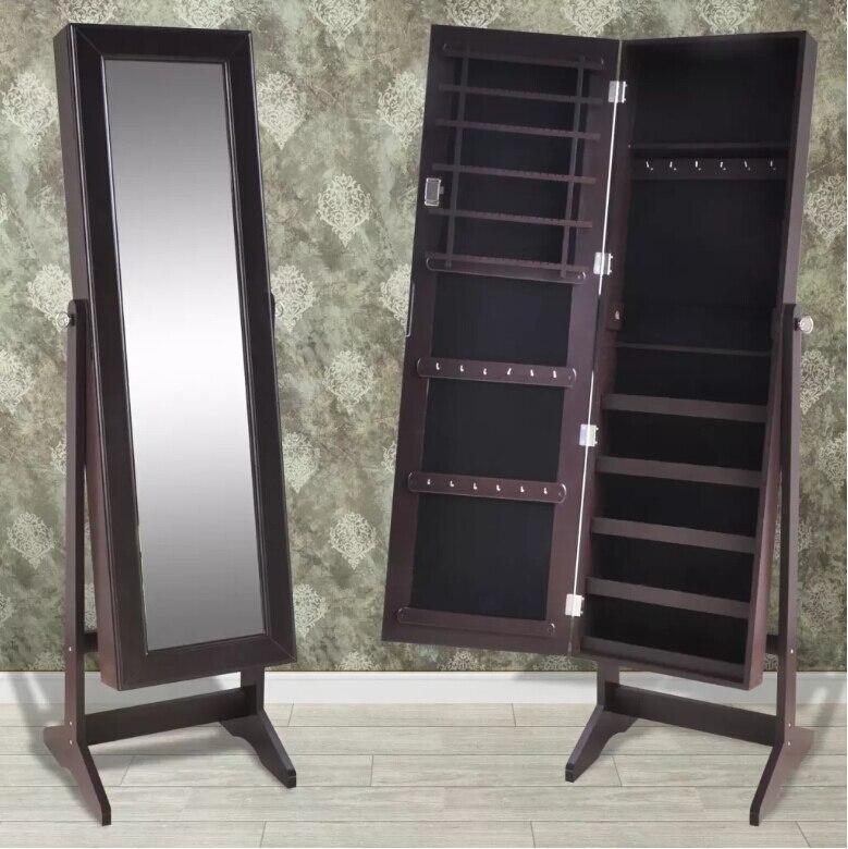 Vidaxl Perhiasan Kabinet Dikunci Organizer dengan Cermin Ruang Tamu Berdiri Bebas Dikunci Cermin Make Up Cermin Hot Sale