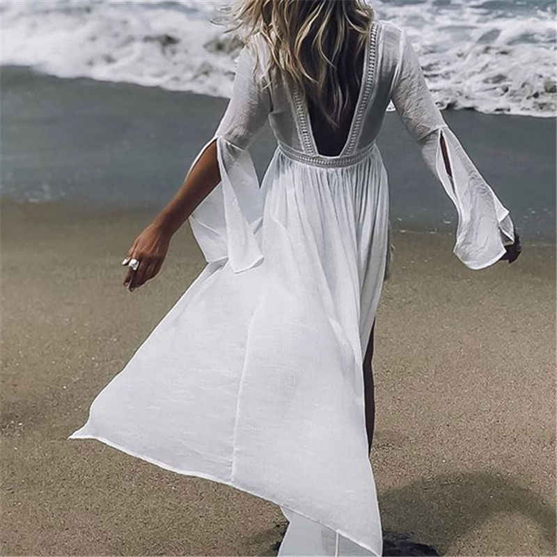 2019 Tuniche per la Spiaggia del Costume Da Bagno Cover up Donne Costumi Da Bagno Lungo Caftano Beach Cover up Beachwear Pareo Beach Dress Saida de praia