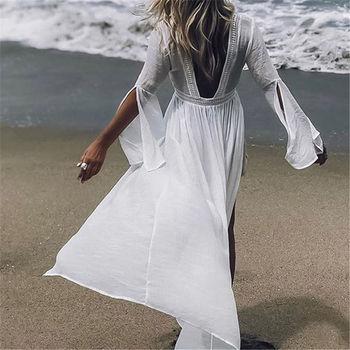 7ced87b5f673ab5 2019 туники для пляжного купальника, женские купальники, платье в пол, пляжная  одежда, парео, Пляжное Платье Saida de Praia